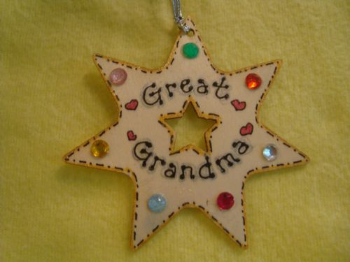Personalised Wooden 7 pointed star Shaped Christmas Tree Hanger with gem Decorations Any Name
